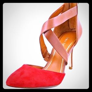 Enzo Angiolini Red Suede and tan heels